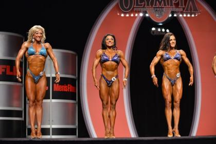 Danielle Ruban (far left) on stage at the 2012 Olympia.